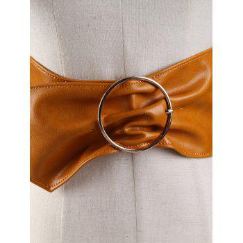Metal Round Buckle Embellished Artificial Leather Wide Waist Belt - BROWN