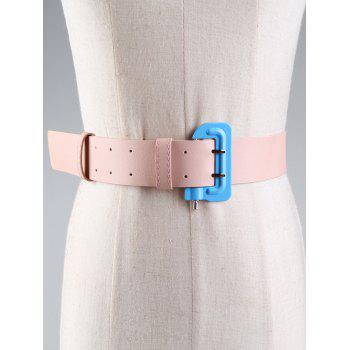 Lock Shape Buckle Decorated Artificial Leather Waist Belt - PINK