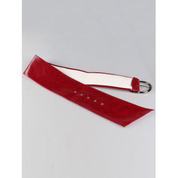 Vintage Round Buckle Embellished Artificial Leather High Waist Belt - RED