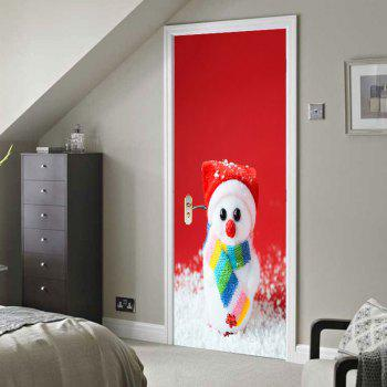 Environmental Removable Cute Snowman Printed Door Stickers - COLORFUL 38.5*200CM*2PCS