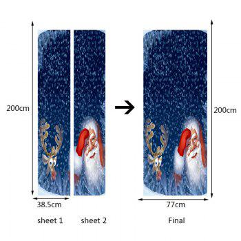 Snow Santa Claus and Elk Pattern Environmental Removable Door Stickers - BLUE 38.5*200CM*2PCS