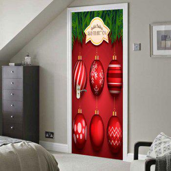 Christmas Red Balls Pattern Environmental Removable Door Stickers - RED 38.5*200CM*2PCS