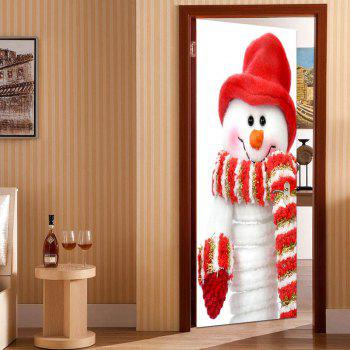 Environmental Removable Scarf Snowman Printed Door Stickers - COLORFUL 38.5*200CM*2PCS