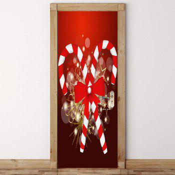Environmental Removable Christmas Candy Bar Printed Door Stickers - RED 38.5*200CM*2PCS