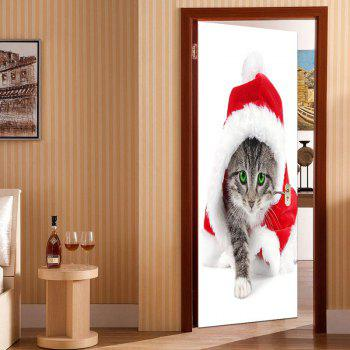 Christmas Cat Pattern Door Art Stickers - COLORFUL 38.5*200CM*2PCS