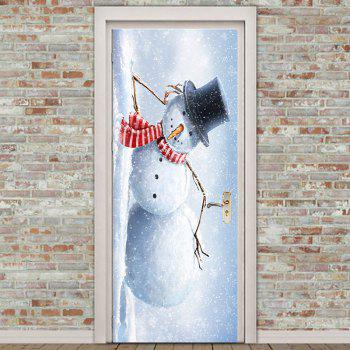 Christmas Snowman Patterned Door Art Stickers - SMOKY GRAY 38.5*200CM*2PCS