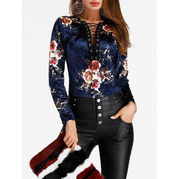Floral Print Lace Up Velvet Bodysuit - DEEP BLUE S