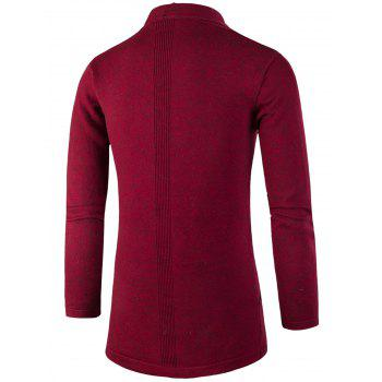 Knitted Jacquard Open Front Cardigan - DEEP RED 3XL