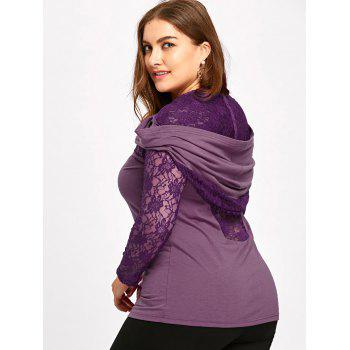 Plus Size Sheer Lace Insert Hoodie - PURPLE 3XL