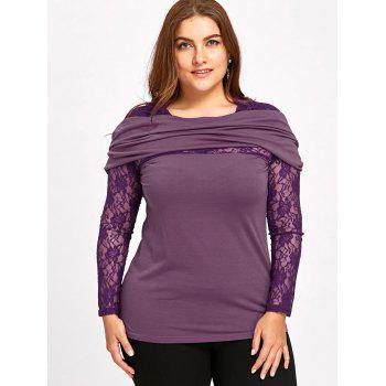 Sweat à Capuche à Joint Dentelle Transparent Grande Taille - Pourpre 3XL