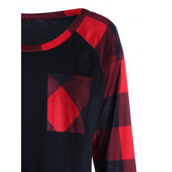 Plus Size Single Pocket Plaid T-shirt - RED XL