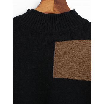 Side Slit Contrast High Low Sweater - BLACK ONE SIZE