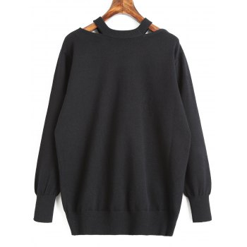 Pull Tunique Cut Out - Noir L