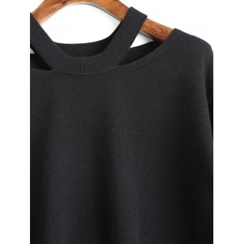 Cut Out Tunic Sweater - BLACK M