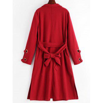 Side Slit Draped Coat with Belt - DEEP RED XL