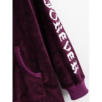Letter Graphic Kangaroo Pocket Velvet Hoodie - DEEP PURPLE L