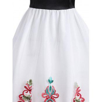 Embroidered Mesh Lace Panel Vintage Dress - RED L