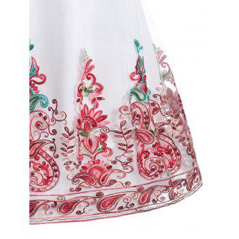 Embroidered Mesh Lace Panel Vintage Dress - RED XL