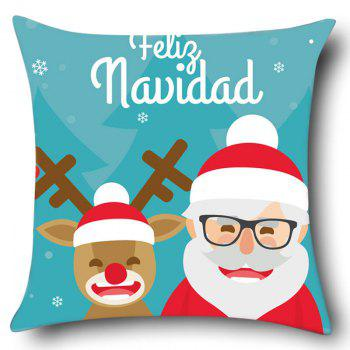 Elk and Santa Claus Pattern Pillow Case - COLORFUL W18 INCH * L18 INCH