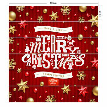 Merry Christmas Letter Print DIY Decorative Stair Stickers - RED 100*18CM*6PCS