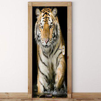 Environmental Tiger Pattern Removable Door Stickers - BROWN 38.5*200CM*2PCS