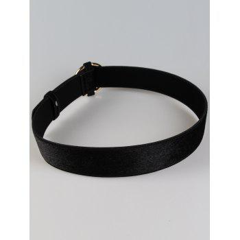 Vintage Round Buckle Decorated Faux Suede Ladies Waist Belt - BLACK