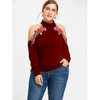 Cold Shoulder Floral Embroidered Plus Size T-shirt - WINE RED 4XL