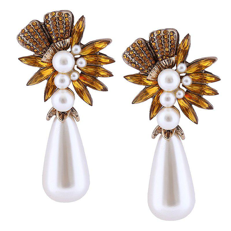 Water Drop Faux Pearl Floral Drop Earrings faux pearl beaded round floral earrings
