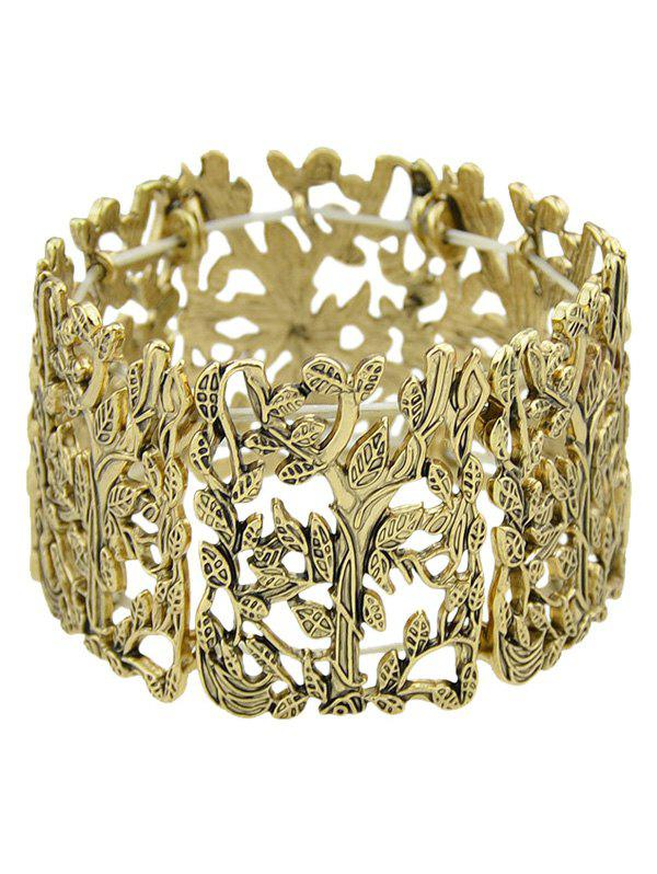 Alloy Leaf Elastic Bracelet - GOLDEN