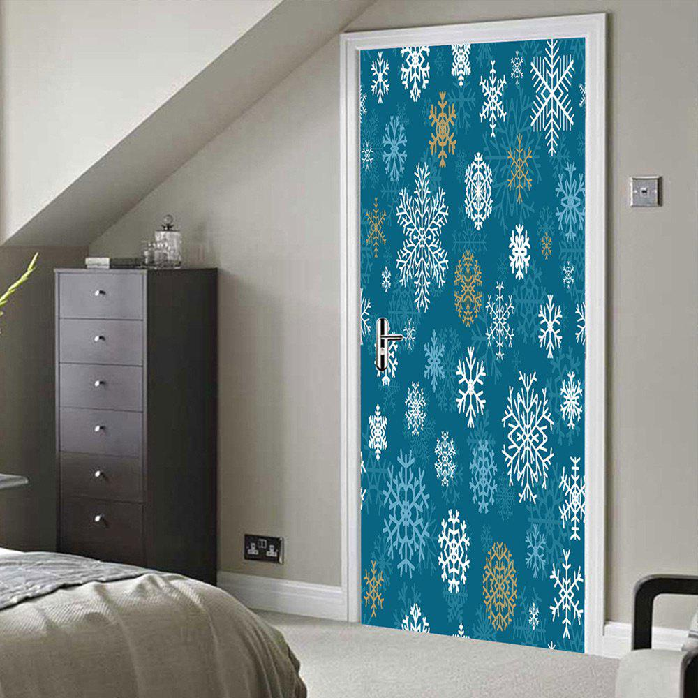 Christmas Snowflakes Pattern Door Stickers - BLUE 38.5*200CM*2PCS