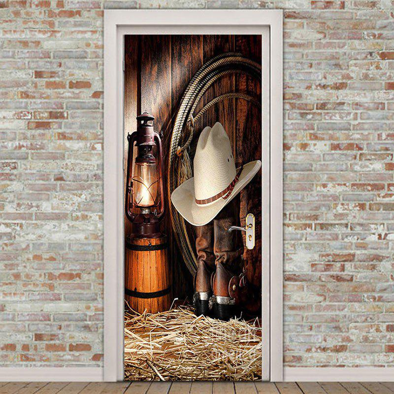 Environmental Removable Western Cowboy Printed Door Stickers - BROWN 38.5*200CM*2PCS