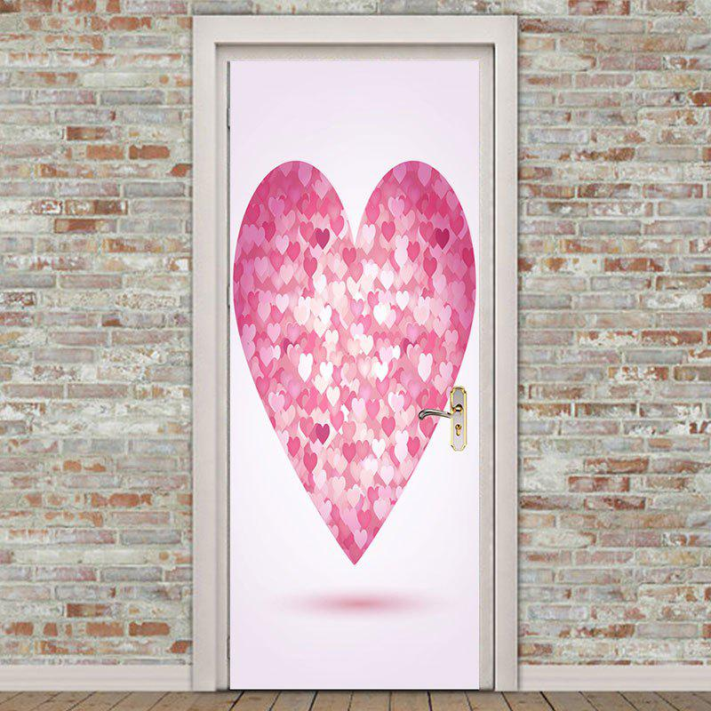 Valentine Love Heart Shape Door Art Stickers - PINK 38.5*200CM*2PCS