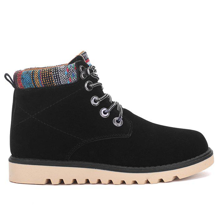 Casual Lace Up Faux Suede Ankle Boots - BLACK 42