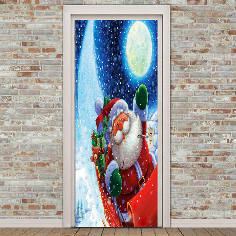 Environmental Removable Santa Claus with Moon Pattern Door Stickers fat santa claus pattern door cover stickers