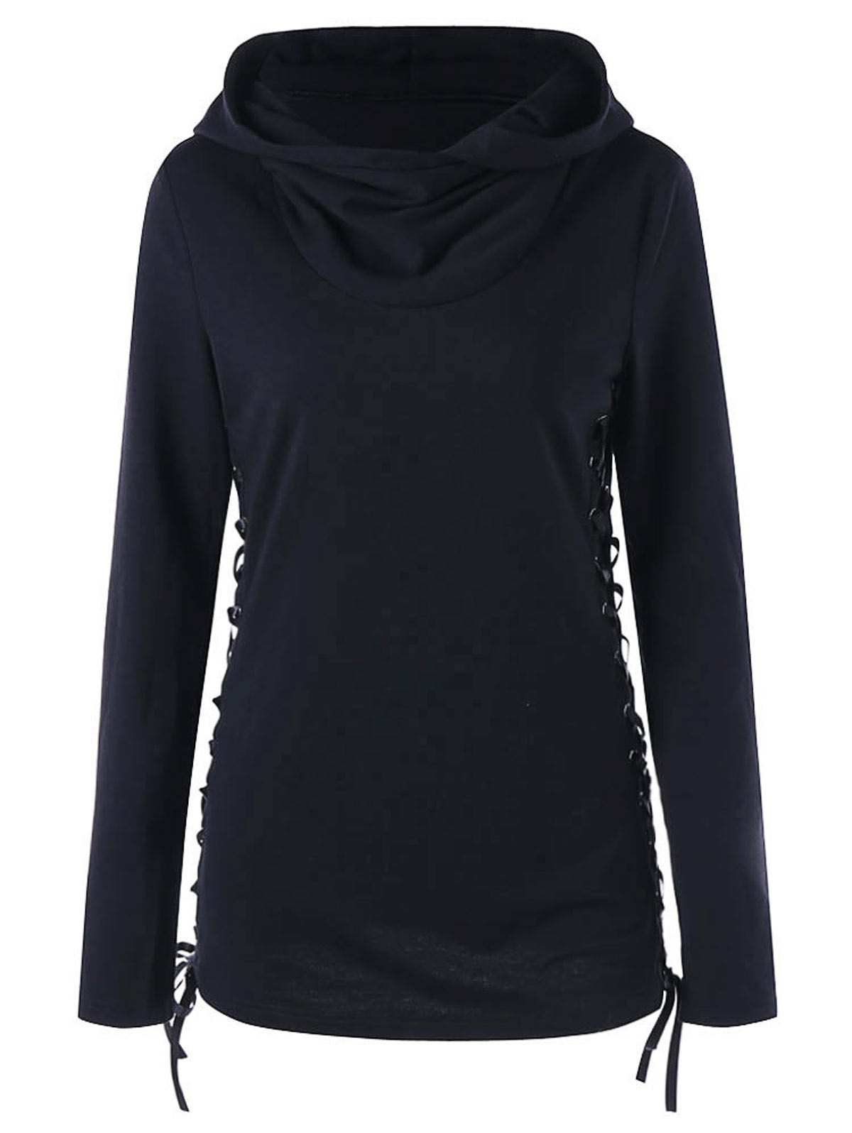 Side Criss Cross Lace Up Hoodie - BLACK 2XL
