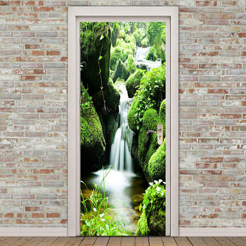 Mountain Waterfall Pattern Environmental Removable Door Stickers - GREEN 38.5*200CM*2PCS