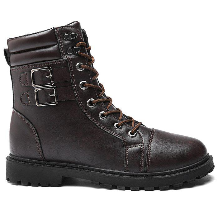 Lace Up Dual-buckle Combat Boots - BROWN 42