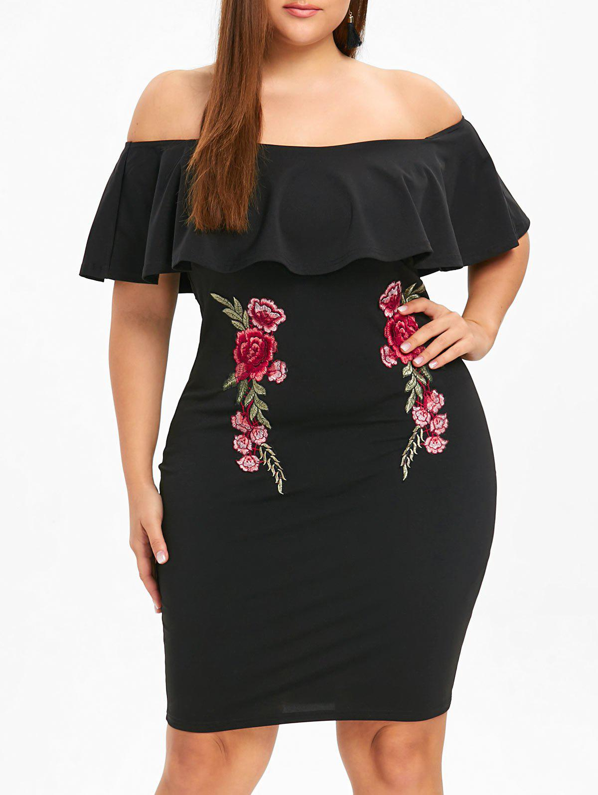 Plus Size Off The Shoulder Overlay Embroidery Dress graceful off the shoulder overlay tied dress for women