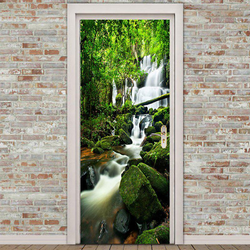 Mountains Forest Swift Water Print Eco-friendly Door Stickers - GREEN 38.5*200CM*2PCS