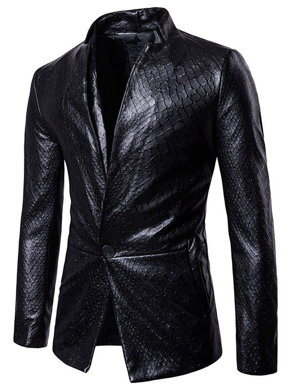 Net Pattern Stand Collar Faux Leather Blazer skygate net в донецке