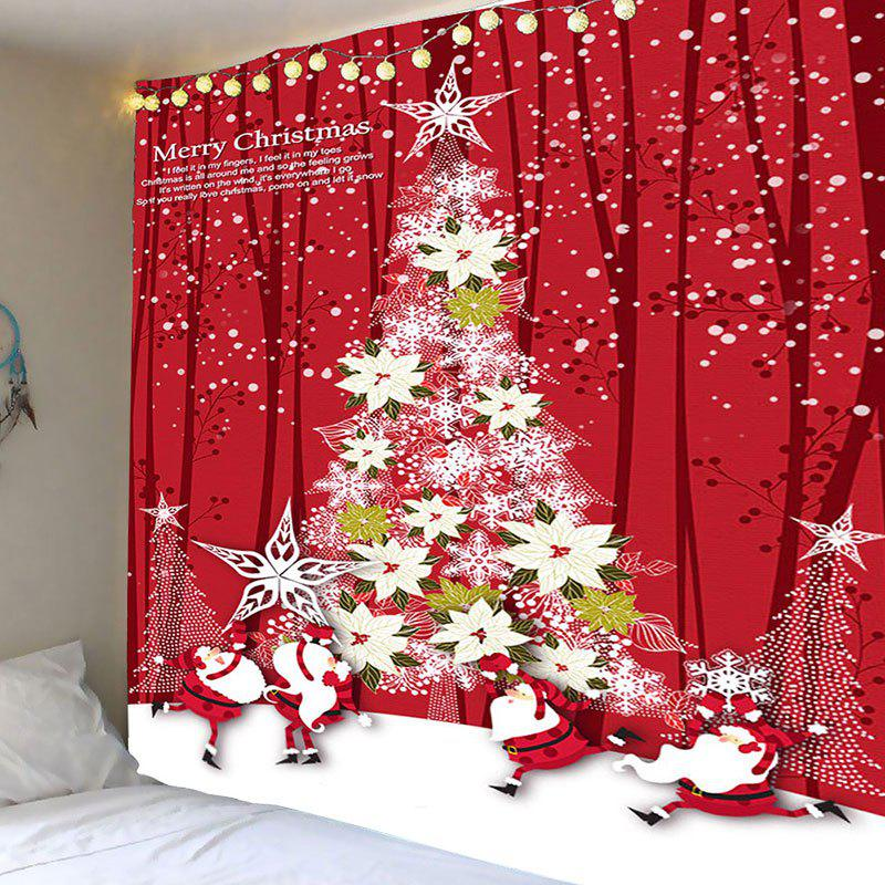 Flower Christmas Tree Printed Waterproof Wall Hanging Tapestry - RED W79 INCH * L79 INCH
