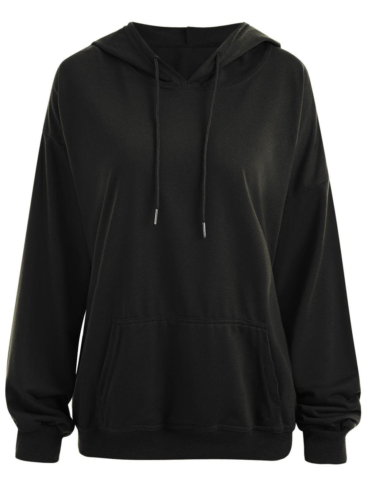 Plus Size  Plain Drop Shoulder Hoodie with Pocket - BLACK 3XL