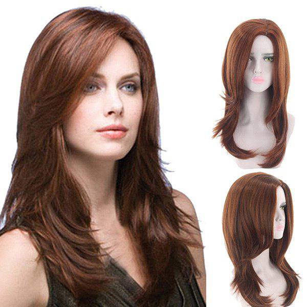 Long Oblique Bang Layered Natural Straight Synthetic Wig oblique shoulder layered frill ditsy top