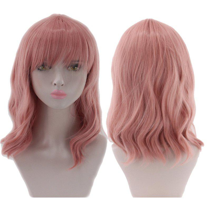 Medium Full Bang Wavy Synthetic Cosplay Wig - PINK