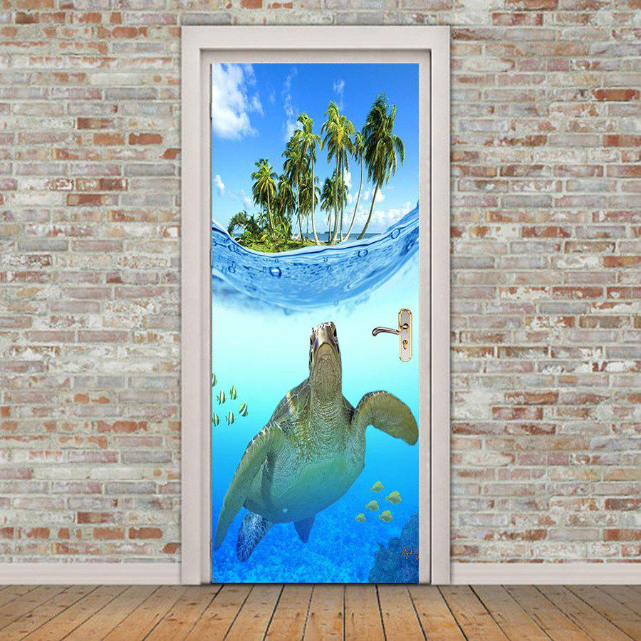 Removable Turtle In The Sea Pattern Door Stickers - BLUE 38.5*200CM*2PCS