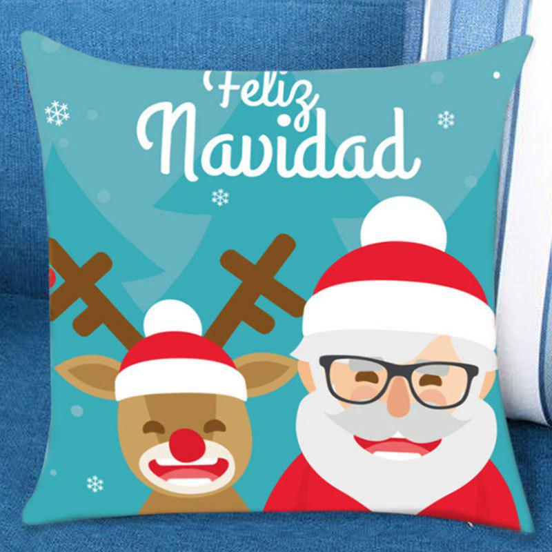 Elk and Santa Claus Pattern Pillow Case santa claus deer cushion throw pillow case