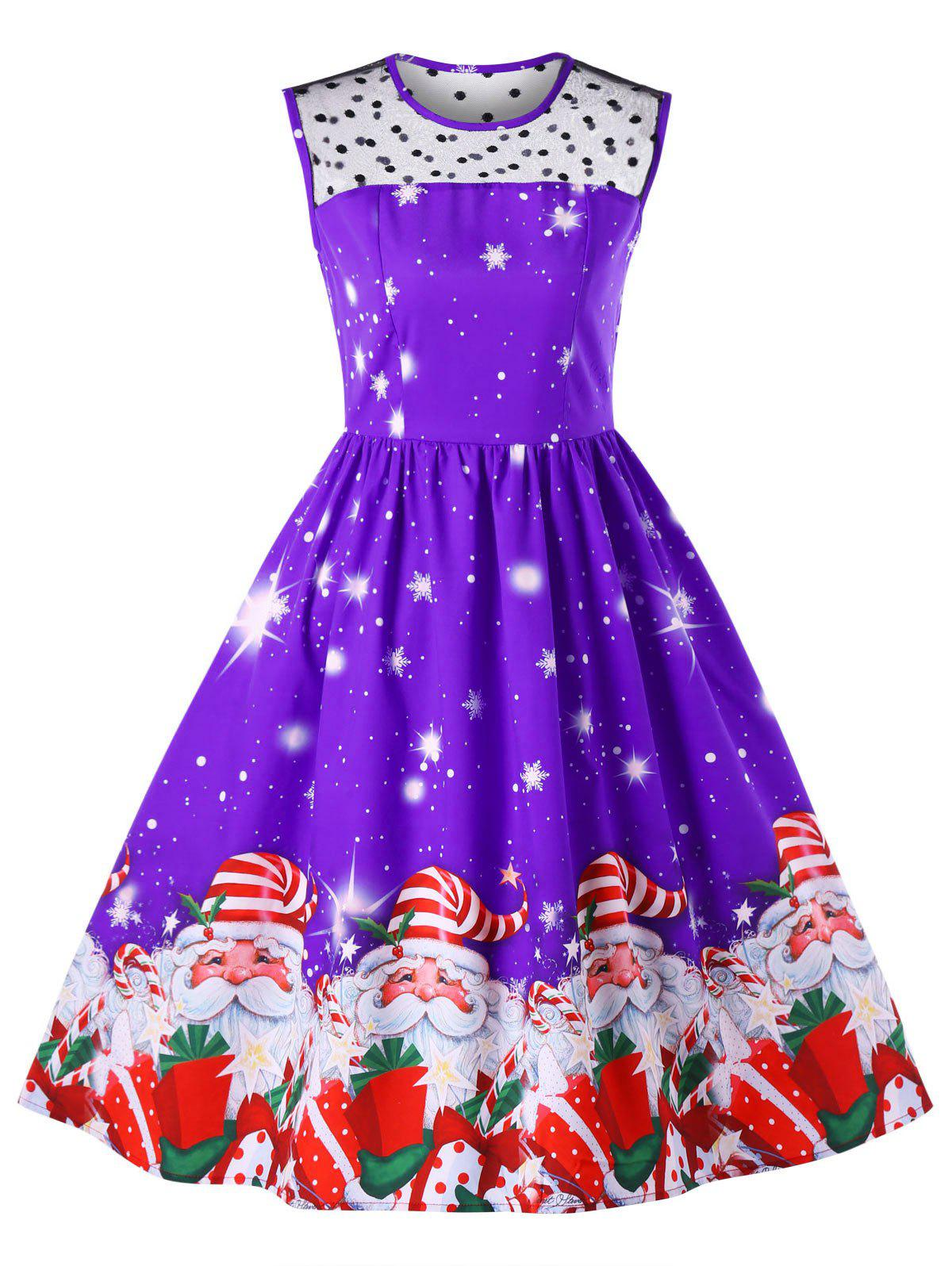 Christmas Santa Claus Print Mesh Insert Dress - CONCORD L