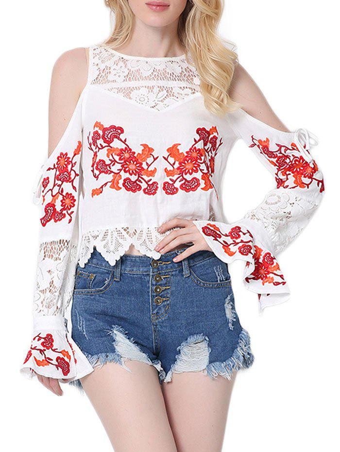 Embroidered Lace Insert Cold Shoulder Blouse lace insert backless cold shoulder romper