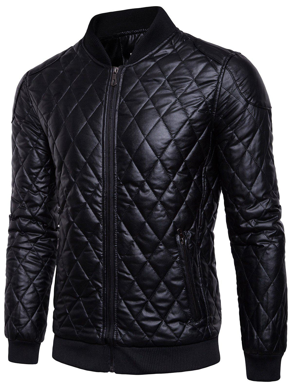 Insulated Checkered Artificial Leather Jacket thirty two metcalf insulated jacket clay