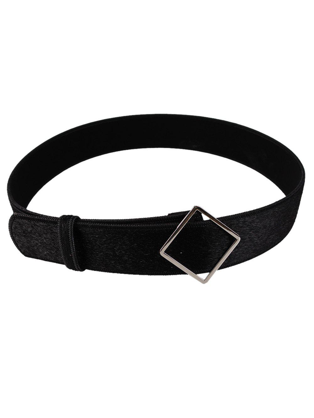 Vintage Irregular Metal Buckle Design Faux Suede Waist Belt - BLACK